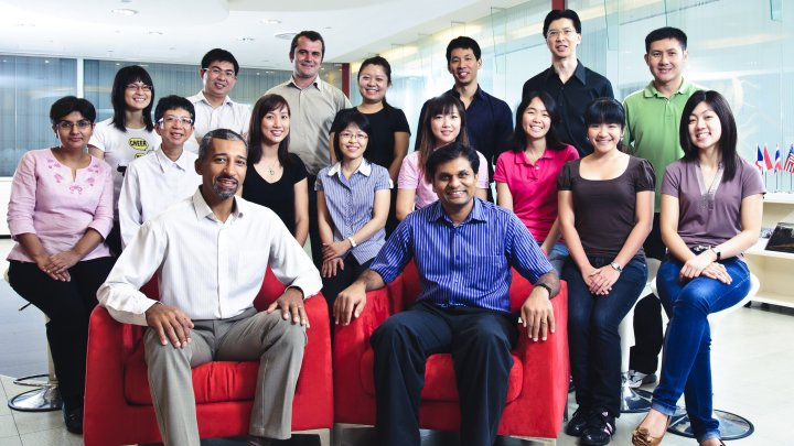 Dr Thierry Diagana (front left) and his team at NITD, Singapore